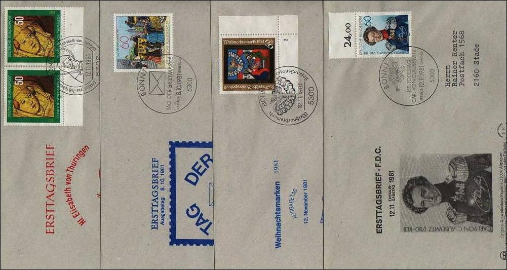 Briefe Mit Briefmarken Bekleben : Brd briefe mit ersttagsstempel stück · briefmarken